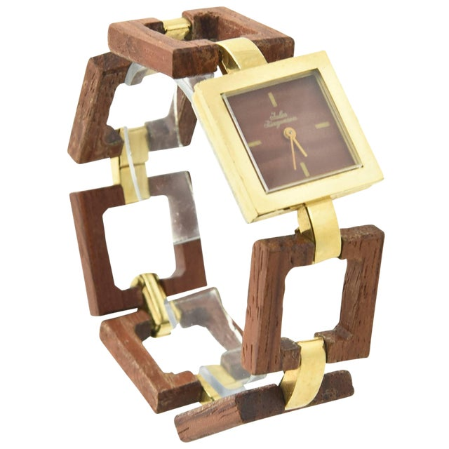Jules Jurgensen Ladies Gold Plate Wood Mechanical Wristwatch For Sale