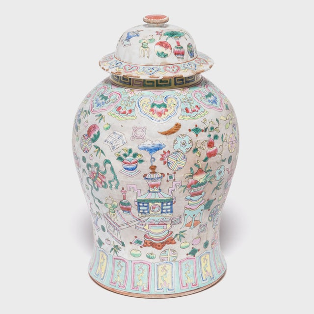 Asian Chinese Famille Rose Porcelain Baluster Jar For Sale - Image 3 of 7