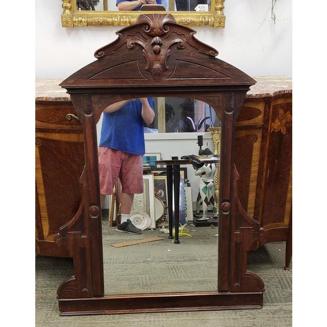 Glass Antique Victorian Eastlake Style Rosewood Bedroom Dresser Mirror C1880 For Sale - Image 7 of 9