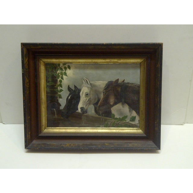 """This is an Original Painting On Canvas Titled """"Horses Drinking"""" Unknown Artist Circa 1900 The Painting Is Framed In A Nice..."""