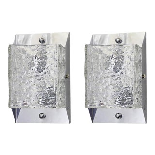 Textured Murano Glass Sconces / Flush Mounts by Mazzega - a Pair For Sale