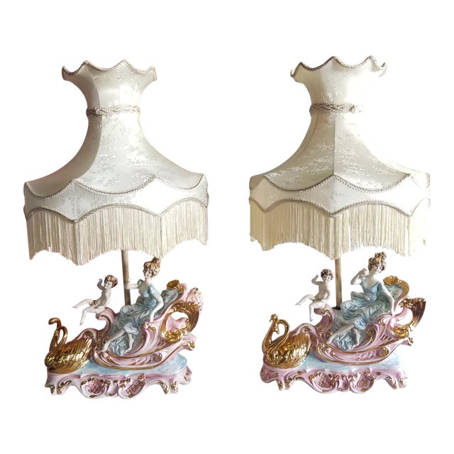 Vintage Mid 20th Century Italian Lady Cherubs Swans Lamps - a Pair For Sale