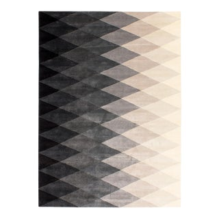 Solo Rugs Grit and Ground Collection Contemporary Harlequin Black/White Hand-Knotted Area Rug, Black , 9' X 12' For Sale