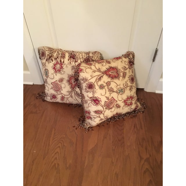 Vintage Silk Needle Point Fabric Pillows - A Pair - Image 6 of 8