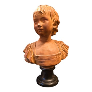 19th Century French Terracotta Bust of Young Girl Sculpture After Jean-Antoine Houdon For Sale