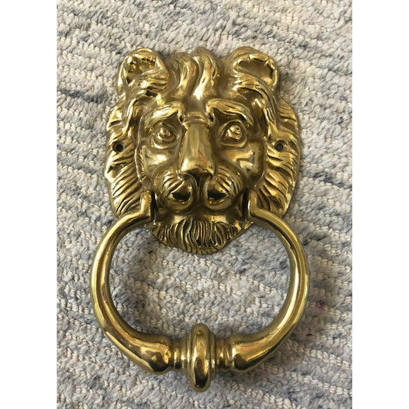 Metal 1950s English Traditional Lion Head Door Knocker For Sale - Image 7 of 7