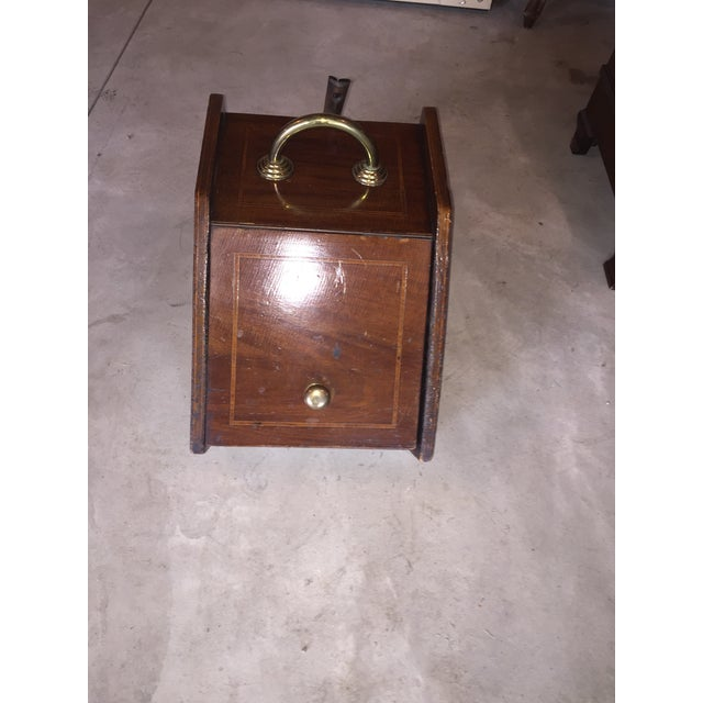 Great unique old Mahogany Banded coal Bin with metal dustpan attachment. Does have wear but that's what makes it even more...