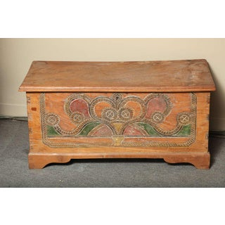 Hand-Carved and Painted Dutch Colonial Style Wedding Trunk With Painted Motifs Preview
