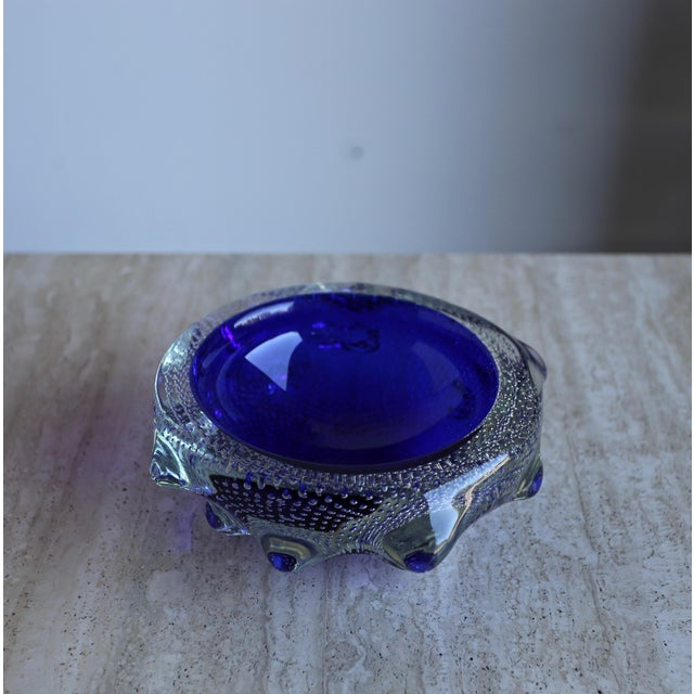 1960s Sculptural Blue Murano Art Glass Bowl For Sale - Image 4 of 8