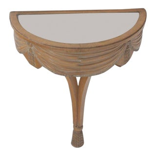 1940s Art Nouveau Mirror Top Carved Demilune Console Table For Sale