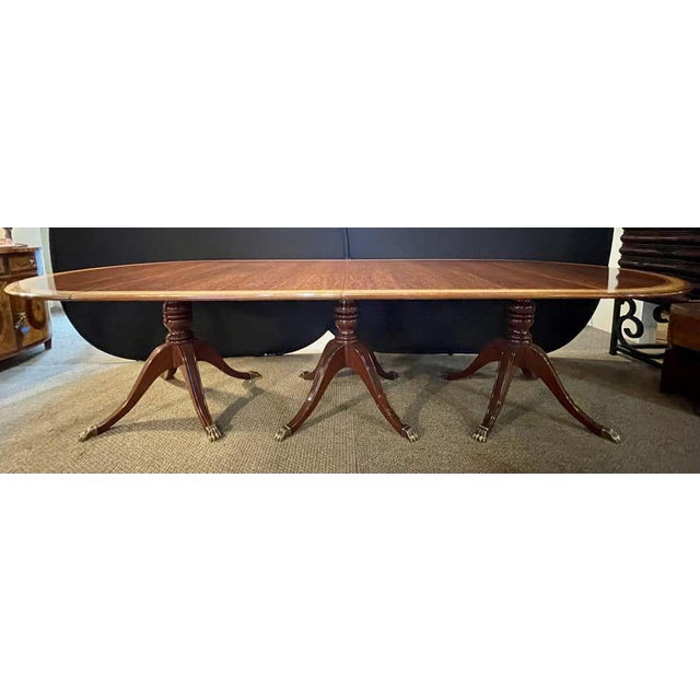 Regency Style Triple Pedestal Dining Room Table Banded and Fully Refinished For Sale In New York - Image 6 of 13