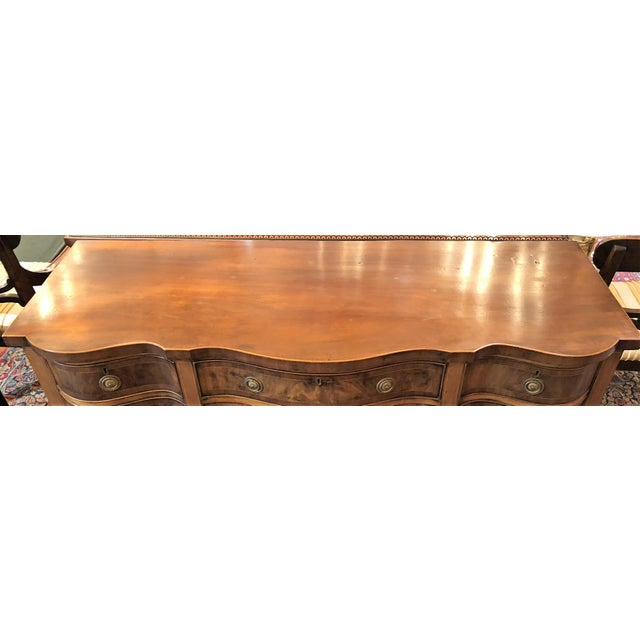 English Traditional Antique English Mahogany Sideboard With Serpentine Design, Circa 1820-1840. For Sale - Image 3 of 4