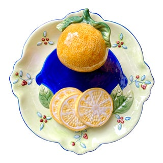 Trompe L'Oeil Orange Decorative Wall Plate For Sale