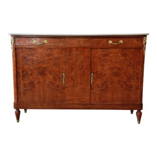 Antique Louis XVI Style Burl Wood Marble Top Sideboard Credenza
