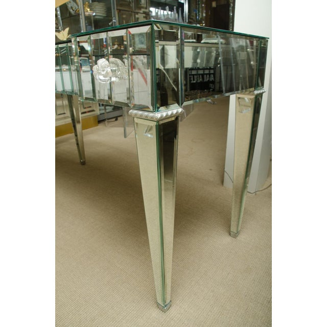 Spectacular Deco style 3-Drawer mirrored vanity/desk. The drawers are lined in velvet and the drawer pulls are Lucite. The...