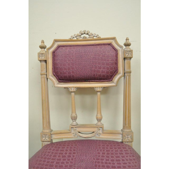 Vintage French Louis XVI Style Drape & Bow Carved Painted Dining Chairs - Set of 4 - Image 3 of 11