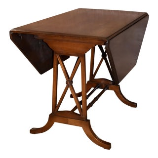 Vintage Traditional Style Octagon Shaped Drop Leaf Table W/Stretcher Base For Sale
