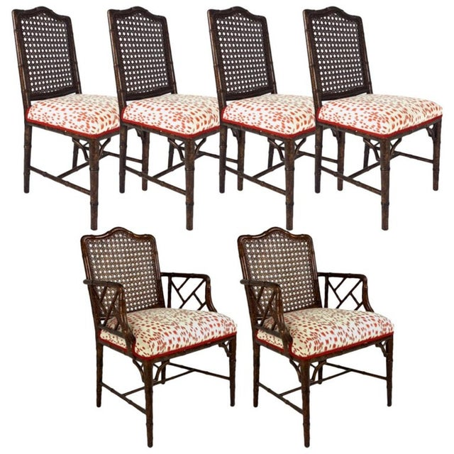 Set of 6 Upholstered Faux Bois Bamboo Chinese Chippendale Cane Dining Chairs For Sale - Image 13 of 13