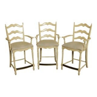 Artistica French Country Style Set 3 Painted Ladder Back Bar Stools For Sale