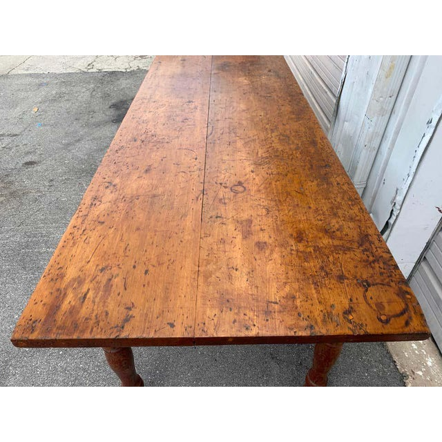 Late 19th Century Southern Red Paint and Chestnut Farm Table For Sale - Image 11 of 13