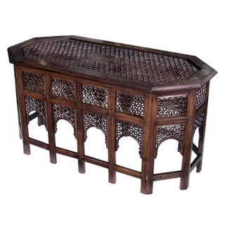 Long Anglo Indian Octagonal Side/Traveling Table With Brass Inlay For Sale