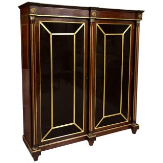 19th Century Russian Neoclassical Flame Mahogany Bookcase Cabinet Vitrine For Sale