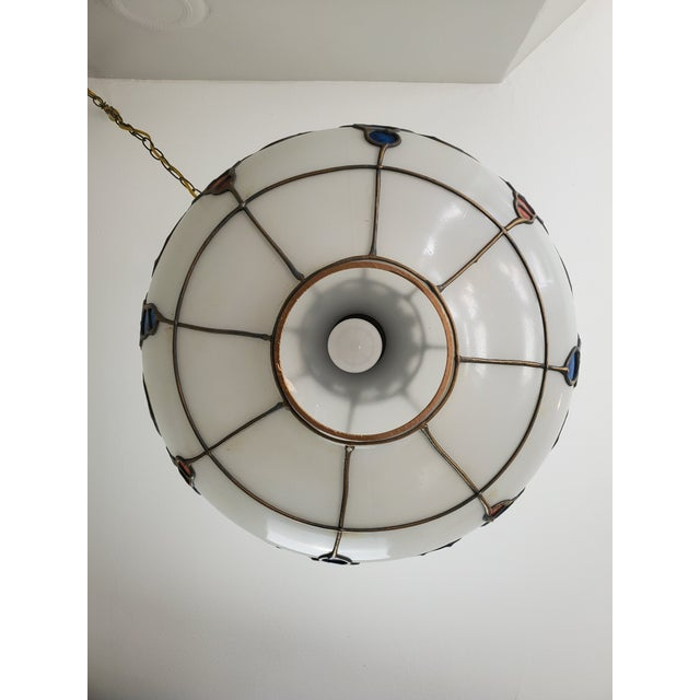 Mid-Century Ceiling Swag Lamp Hand Painted Glass Metal Overlay White Grape Leaves For Sale - Image 10 of 11