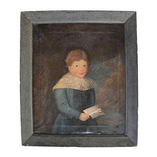 Antique 1827 Folk Art Portrait Painting of a Boy in Blue