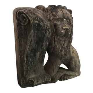 Late 18th Century Antique Carved Wood English Lion Pediment For Sale