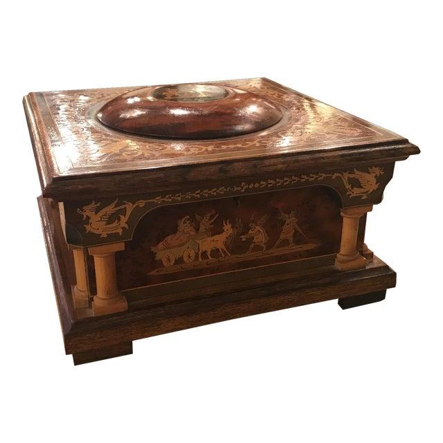 Mid 20th Century Neoclassical Italian Walnut Music Jewelry Box For Sale
