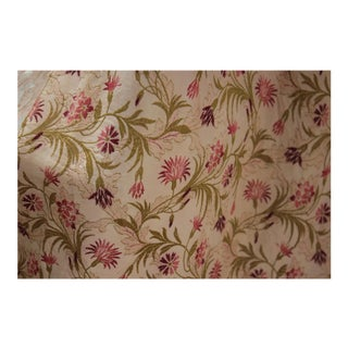 French Brocade Curtain With Pink Floral Design For Sale
