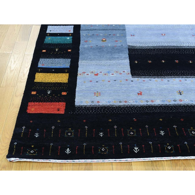 2010s Hand-Knotted Wool Folk Art Gabbeh Rug- 8′3″ × 10′1″ For Sale - Image 5 of 13