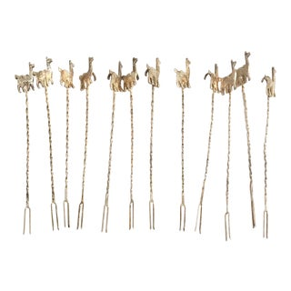 Vintage Sterling Silver Llama/Alpaca Cocktail Picks, Set of 12 For Sale