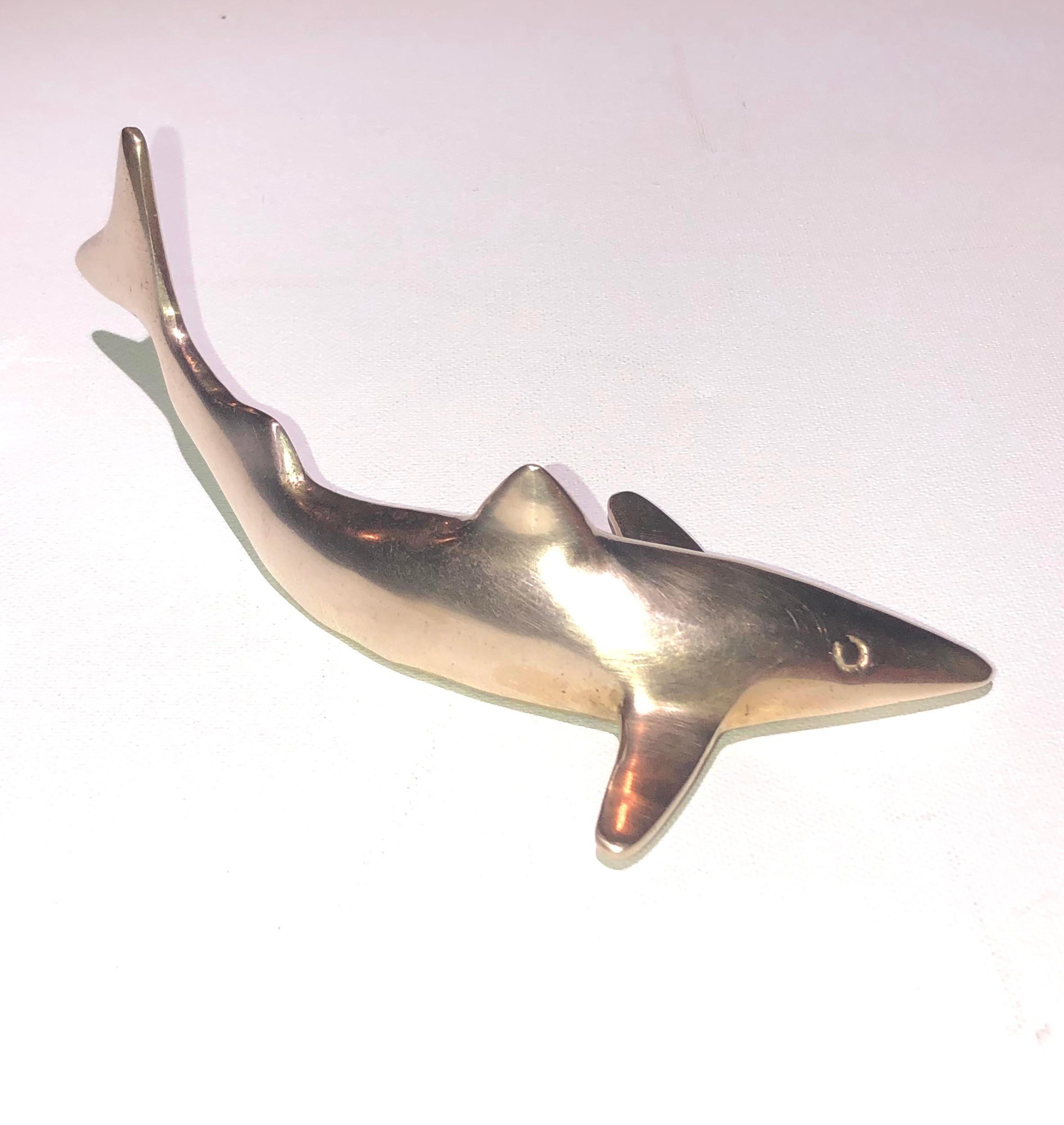 Cool brass shark decor