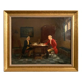 Mid 19th Century Figurative Interior Scene Oil Painting, Framed For Sale