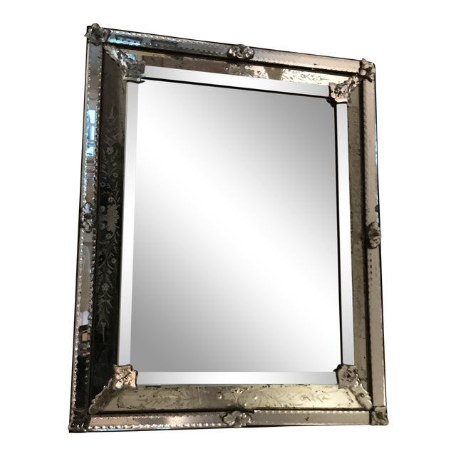 Antique Venetian Glass Silver Tone Mirror For Sale In New York - Image 6 of 6