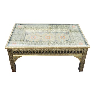 Moroccan Metal Inlaid Coffee Table, Gold Finish For Sale