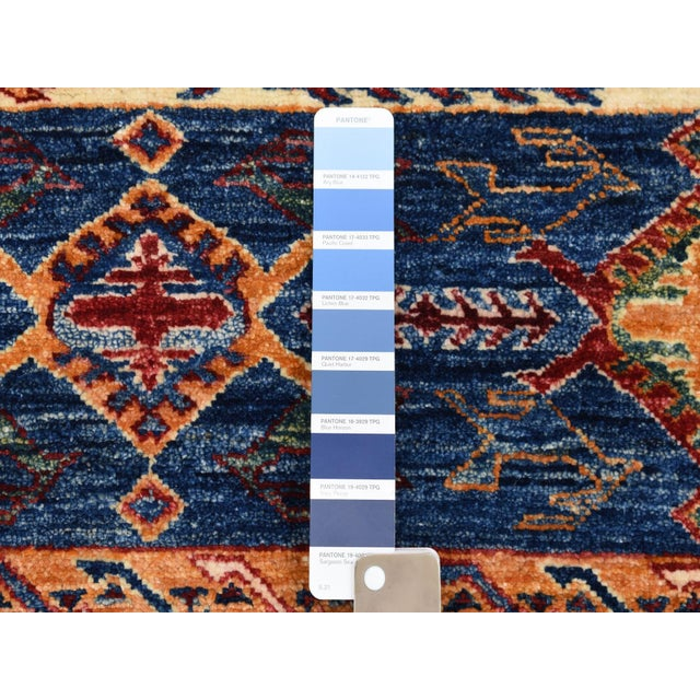 Islamic Khorjin Design Runner Blue Kazak Tribal Pure Wool Hand Knotted For Sale - Image 3 of 7