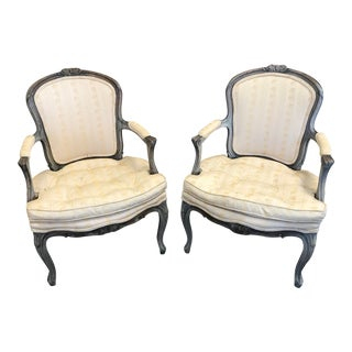 Early 20th Century Vintage Louis XV Slipper Chairs- a Pair For Sale