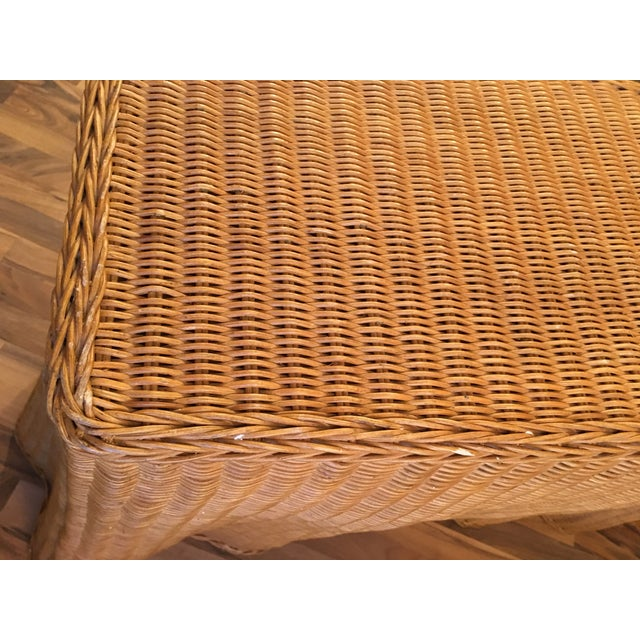 1970s 1970s Boho Chic Wrapped Rattan Wicker Tromp L'Oeil Console Sofa Table For Sale - Image 5 of 8