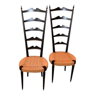Mid-Century Modern Ladder Back Chairs Woven Rush Seat by Paolo Buffa, Italy - a Pair For Sale