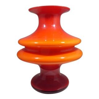 1960s Vintage Per Lutken Holmegaard Orange and White Glass Vase For Sale