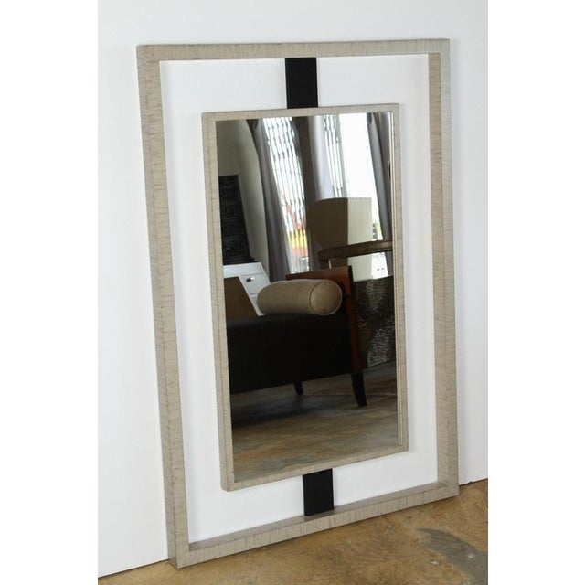 Paul Marra Negative Space Mirror with brown horse hair struts, framing finished in a smooth dry brush patina.