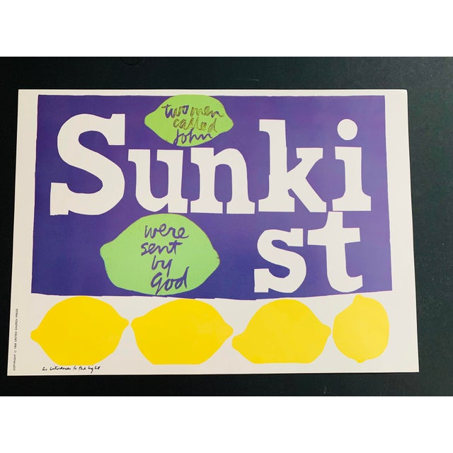 1960s Vintage Sister Mary Corita Kent as Witnesses to the Light Sunkist Lemon Print For Sale In Palm Springs - Image 6 of 9