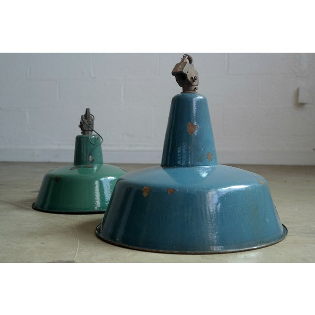 European Blue Industrial Lamp Shade - Image 6 of 7