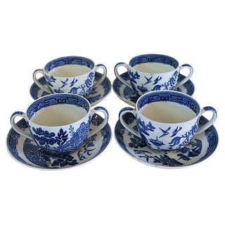 Antique Wedgwood Willow Bouillon Cups - Set of 4 For Sale