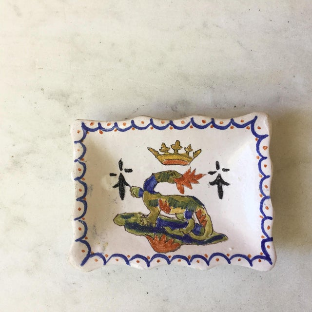 """1900s Petite French Faience Salamander Dish Signed """"Blois"""" For Sale In Austin - Image 6 of 6"""