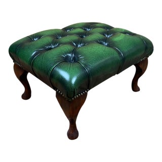 Vintage Mid-Century English Dark Green Leather Chesterfield Ottoman Footstool For Sale