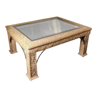 1970s Carved Faux Stone Coffee Table With Beveled Glass Top Inlay For Sale