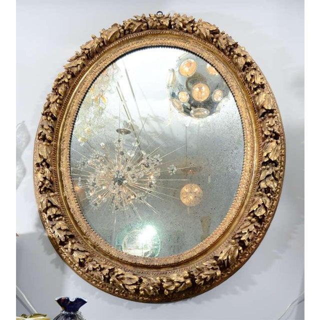 Metal 19th Century Carved Wood and Gesso Gilt Mirror For Sale - Image 7 of 7